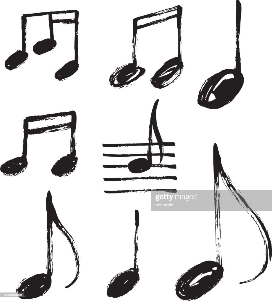 Vector set of handdrawn music notes.
