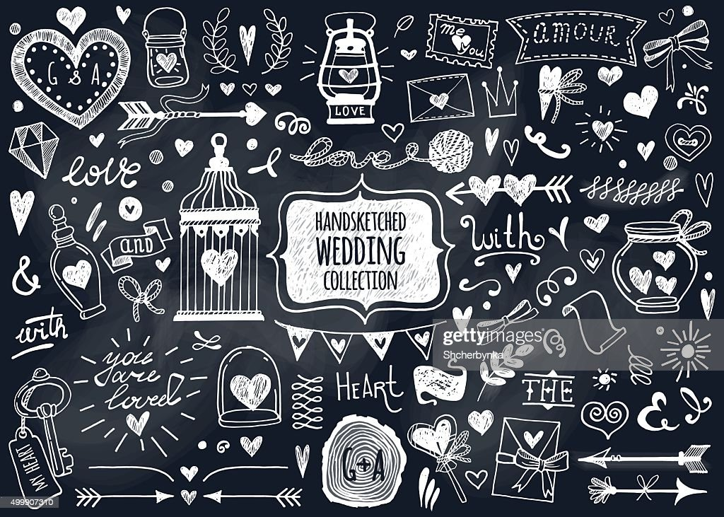 Vector set of hand-drawn Wedding elements.