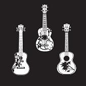 Vector set of hawaiian guitars ukulele, white templates