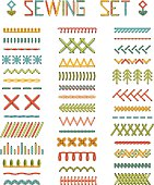 Vector set of high detailed stitches and seams.