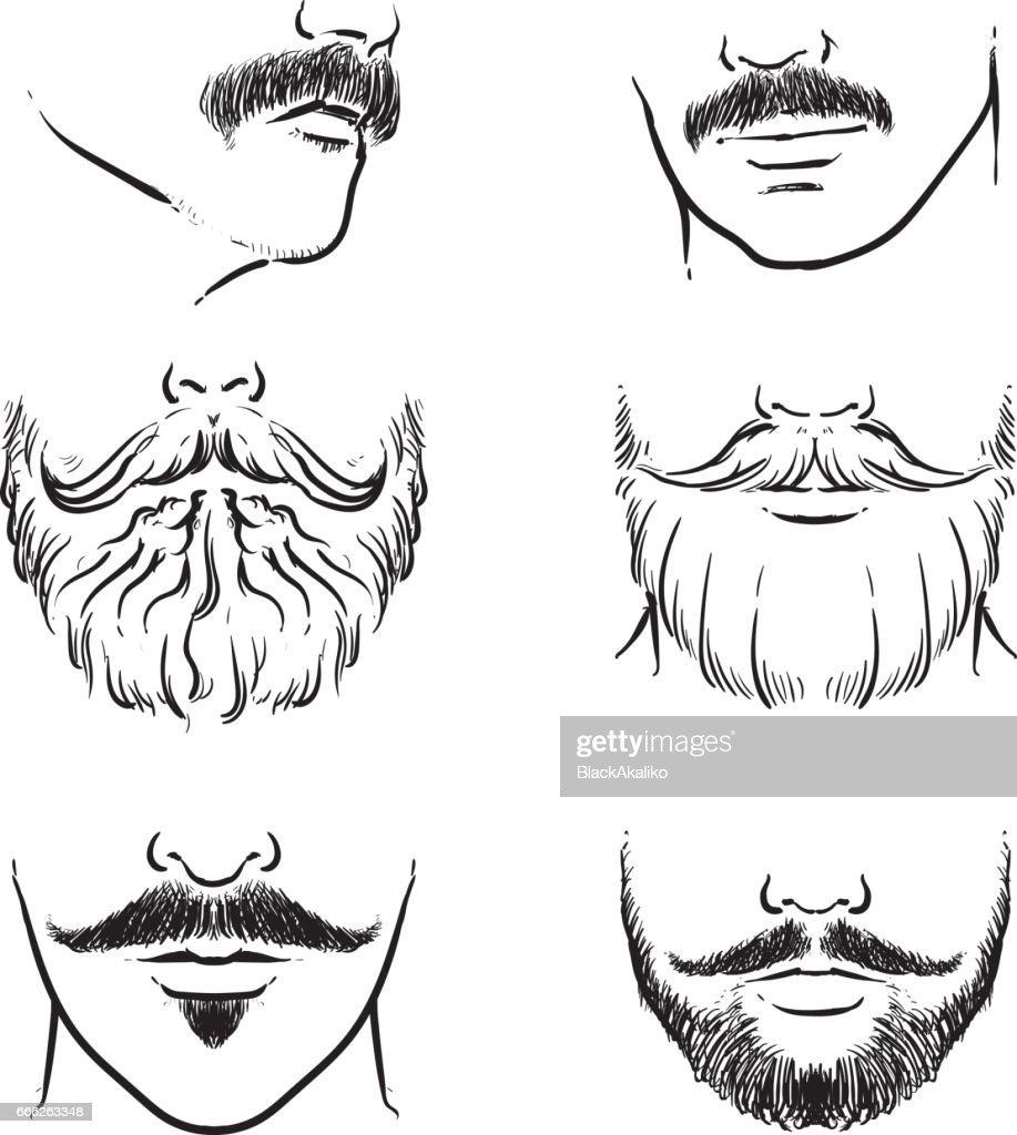 Vector set of hipster mustache. Hand drawn beards outline vector illustration.