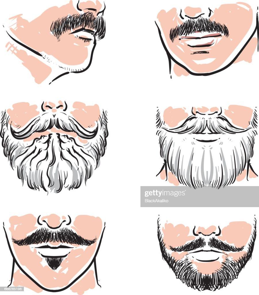 Vector set of hipster mustache. Hand drawn beards vector illustration.
