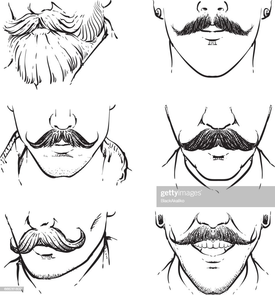 Vector set of hipster mustache outline.