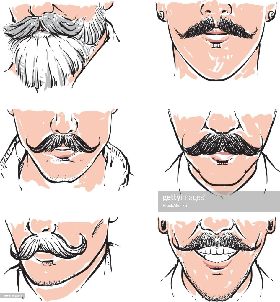 Vector set of hipster mustache.