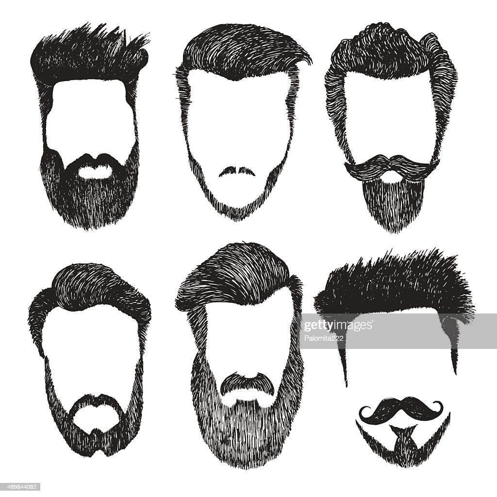 Vector set of hipster style haircut, beard, mustache