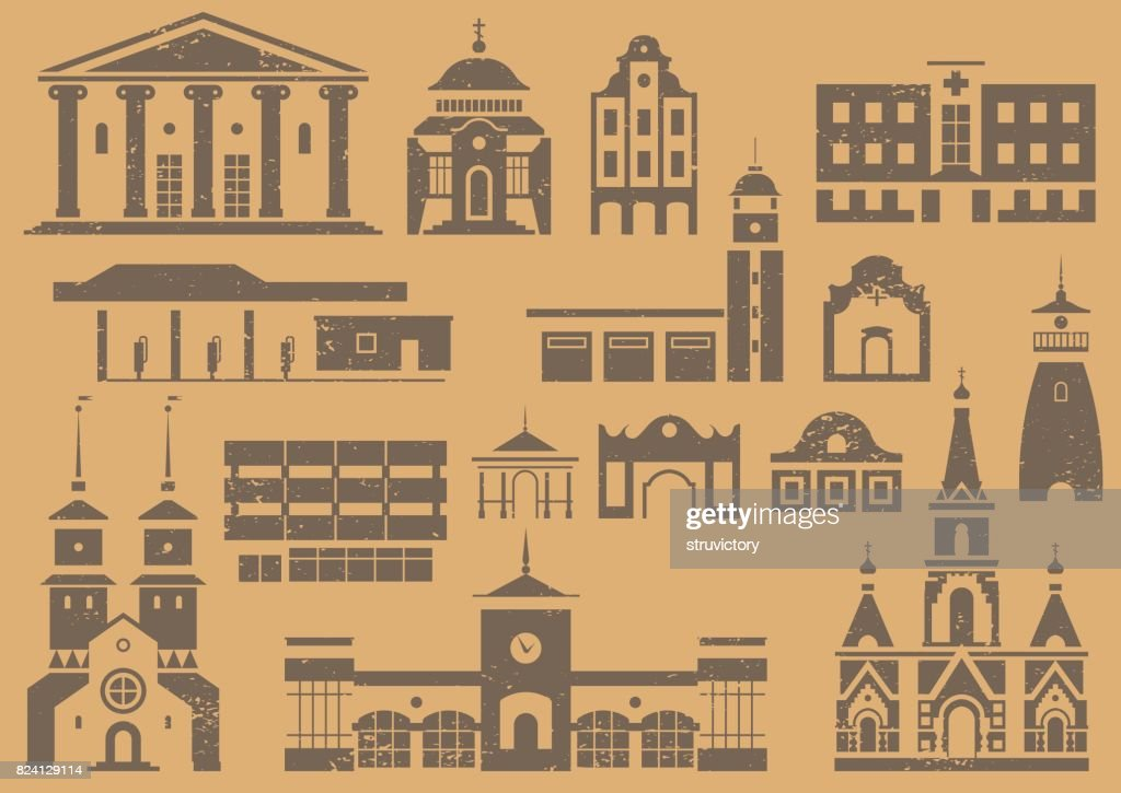 Vector set of icon, stencils and prints of city buildings.