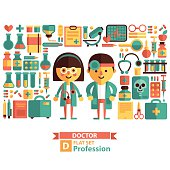 Vector set of icons and characters on the medical theme.