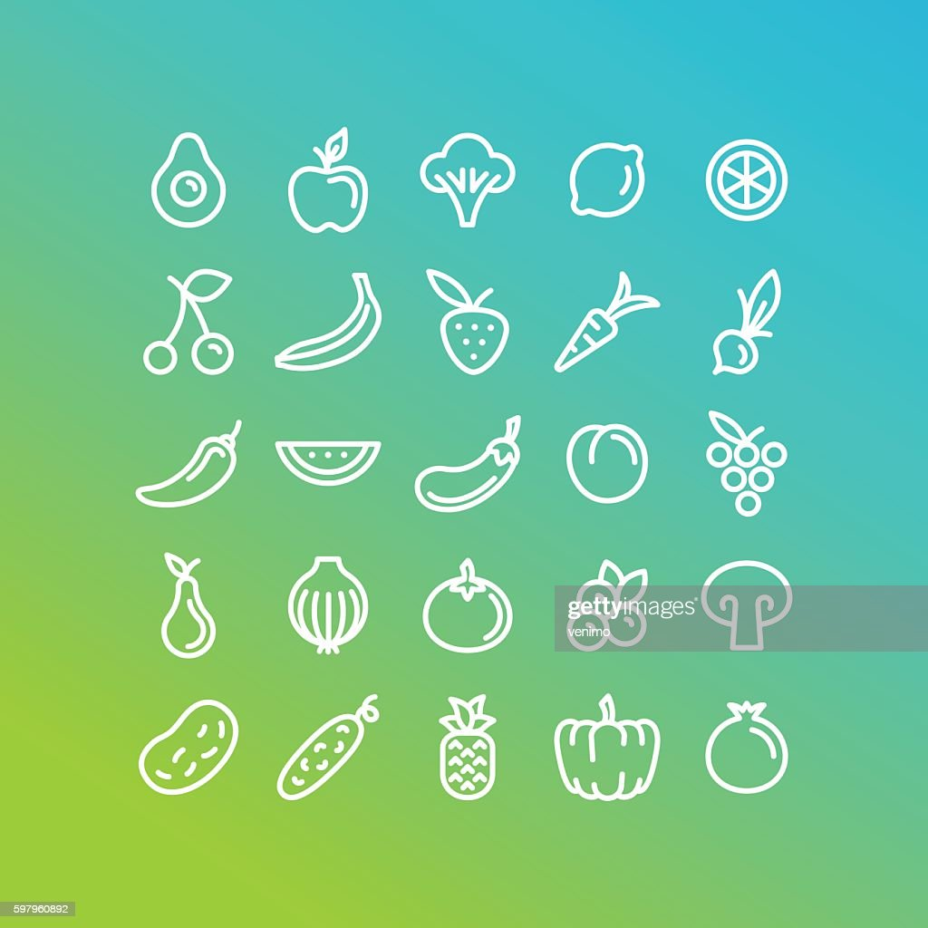 Vector set of icons and illustrations in trendy linear style