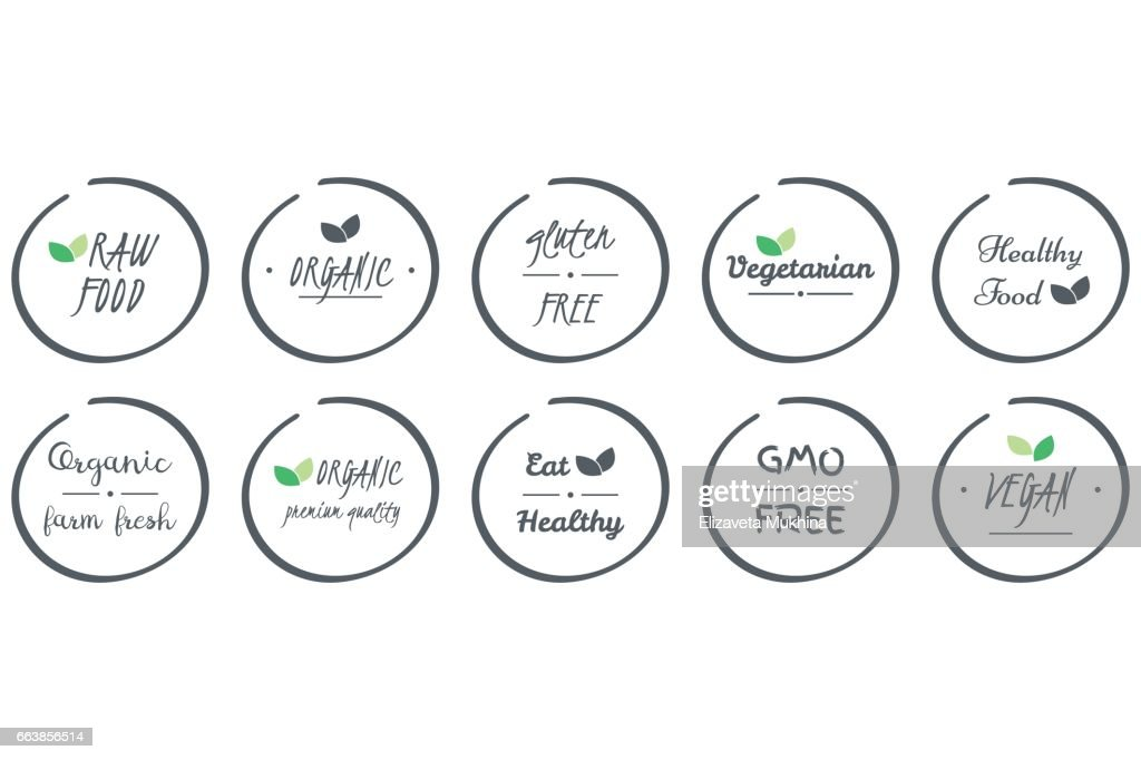 vector set of  icons of Organic, Healthy, Vegan, Vegetarian, Raw, GMO, Gluten free Food, grey circle logo symbols on white background