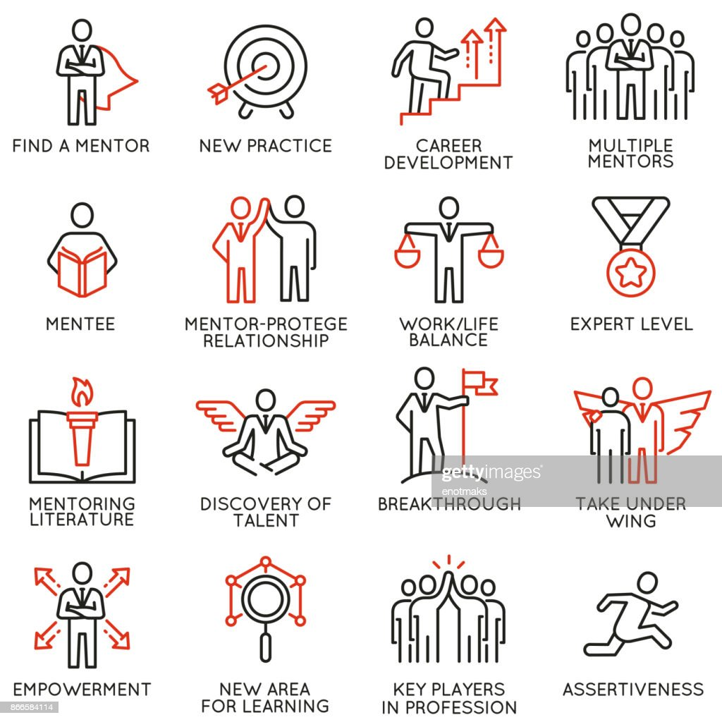 Vector set of icons related to business training, consulting service
