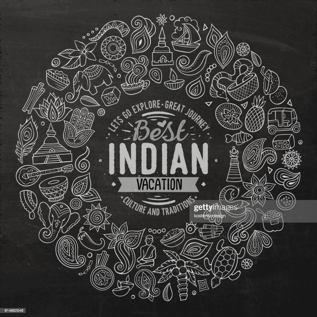 Vector set of Indian cartoon doodle objects