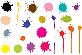 Vector set of ink blobs. Color splatter isolated on white background