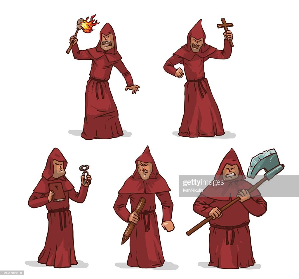 Vector set of inquisitors in red robes with hoods.