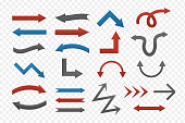 Vector set of isolated arrows on the transparent background.