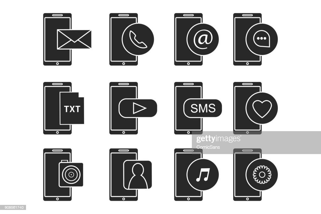 Vector set of isolated phone icons for decoration, website and apps on the white background. Concept of simple logos and preview for smartphone interface.