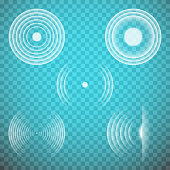 Vector set of isolated transparent sound waves design elements. Sonic resonance.