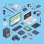 Vector set of isometric computer devices icons