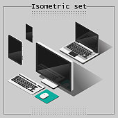 Vector set of isometric devices. notebook, tablet, mobile and computer