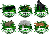 Vector set of Jungle rainforest Emblems with elephant, puma cougar, panther, gorilla, wild hog babirusa and buttrflies