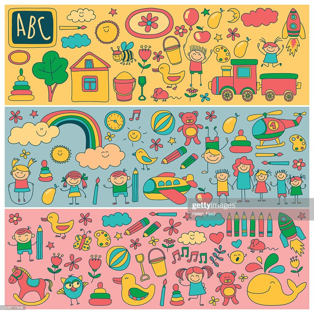 Vector set of kindergarten images