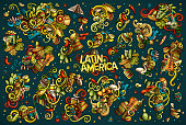 Vector set of Latin America combinations of objects and elements