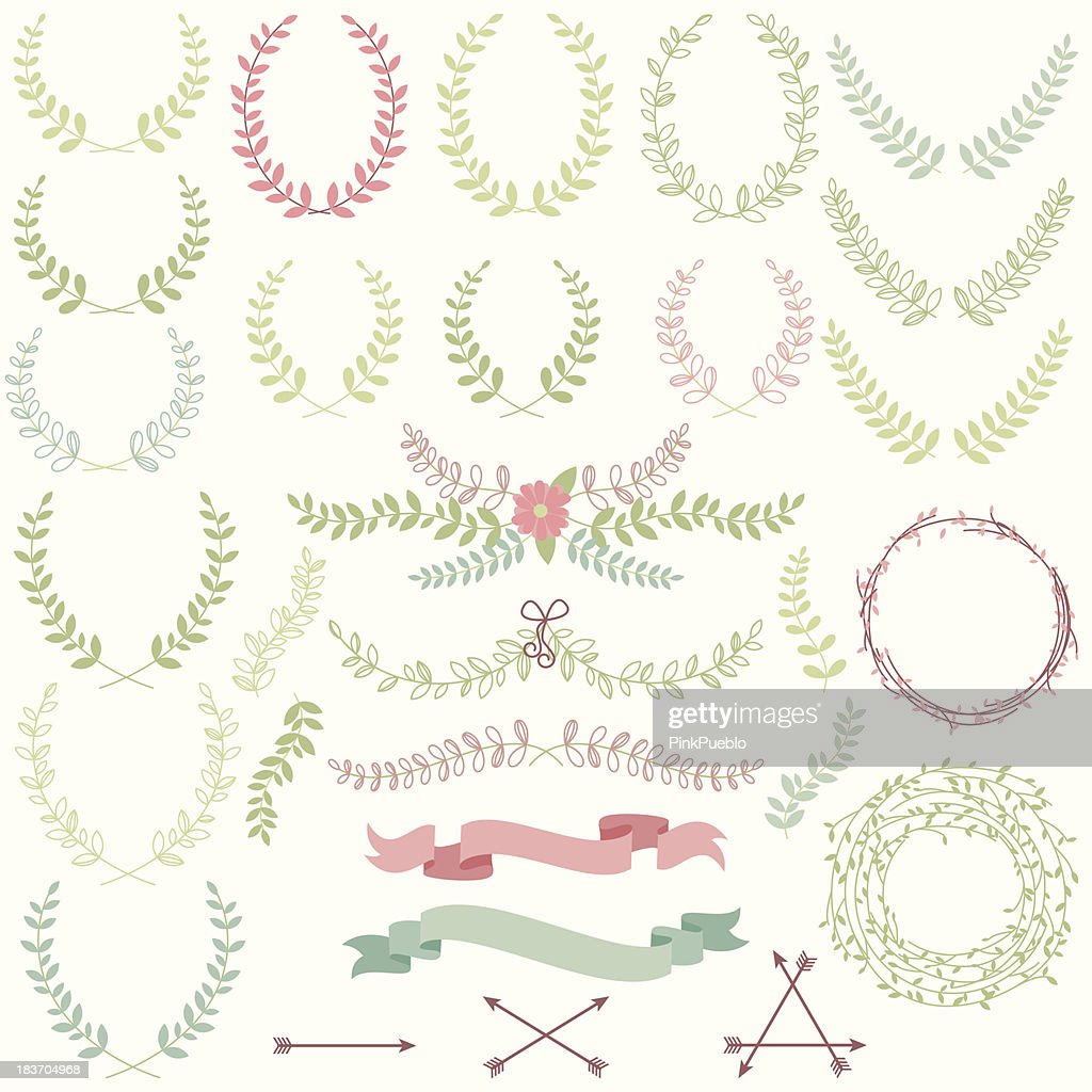 Vector set of laurels, banners and floral elements