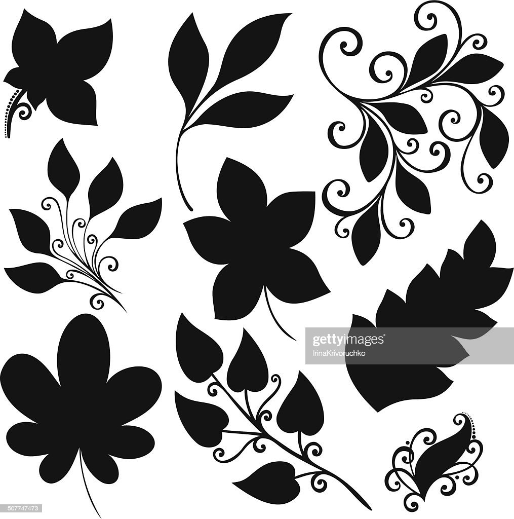 Vector Set of Leaves. Stencils Isolated