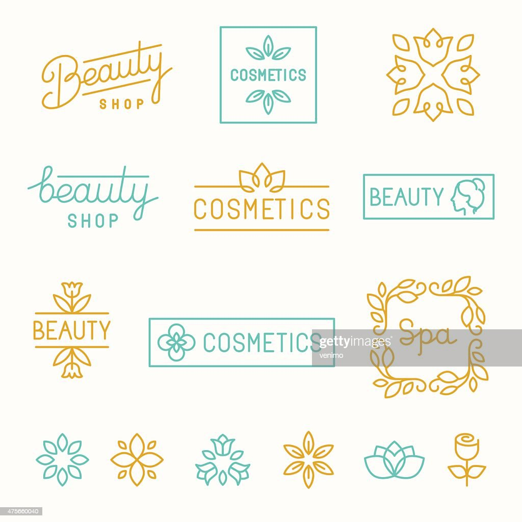 Vector set of linear design elements and logos