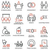 Vector set of linear icons related to business process, team work, human resource management and stakeholders. Mono line pictograms and infographics design elements - part 2
