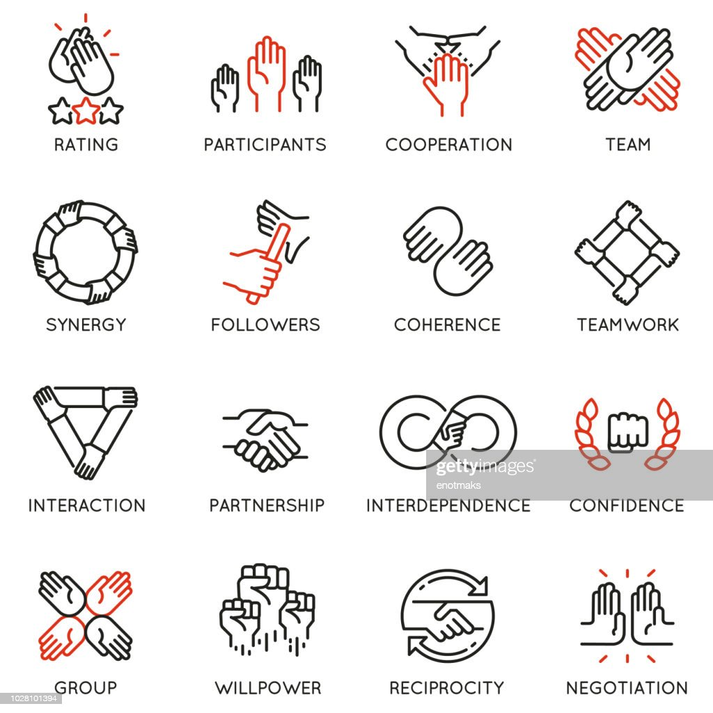 Vector set of linear icons related to relationship, team work and cooperation. Mono line pictograms and infographics design elements