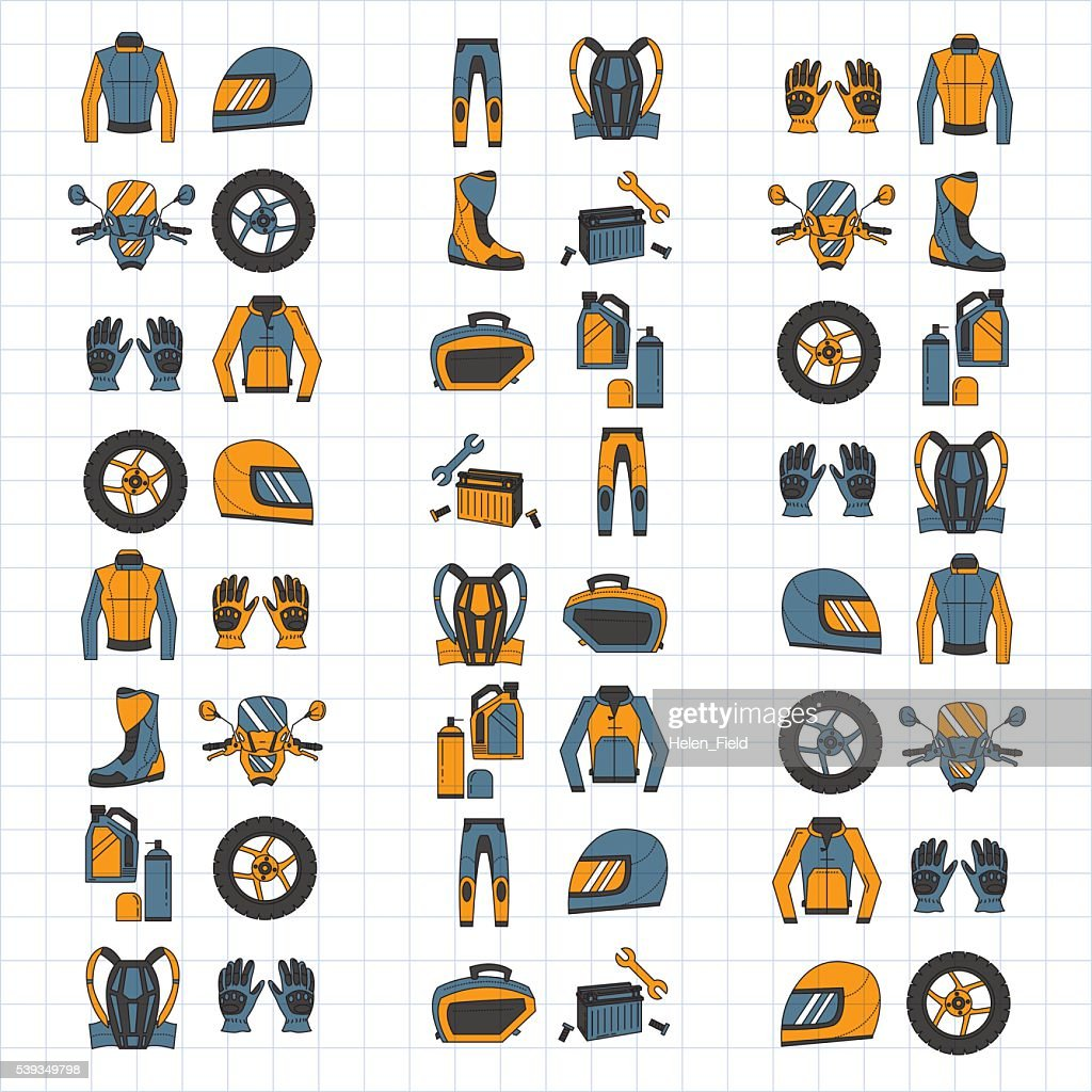 Vector set of linear motorcycle icons