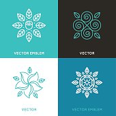 Vector set of logo design templates in trendy linear style