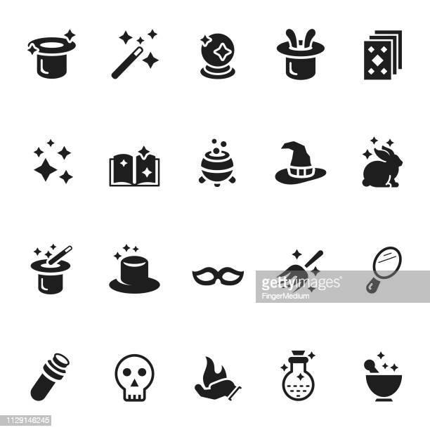 illustrazioni stock, clip art, cartoni animati e icone di tendenza di vector set of magic icons - bacchetta