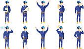 Vector set of mechanic characters