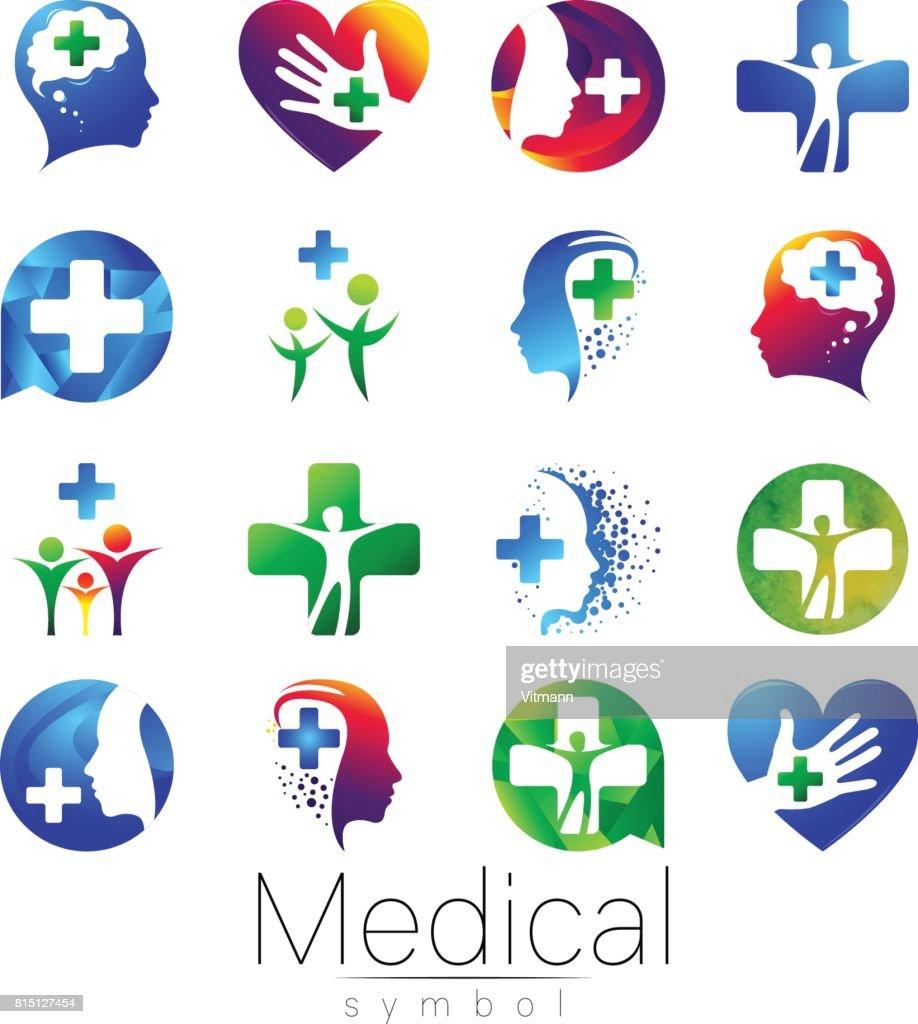 Vector SET De Signe Clinique Avec Croix Lintrieur Le Profil Humain Symbole Pour Les Mdecins Site Internet Carte Visite Icne Couleur Bleue
