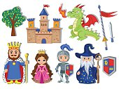 Vector set of medieval fairy tale element icons.