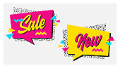 Vector set of memphis style banners with New Arrival and Epic Sale labels.