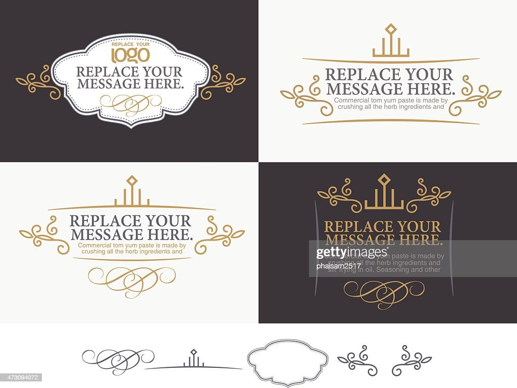 Vector set of message labels in black, white & gold