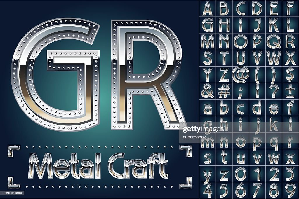 Vector set of metal aluminum alphabet with riveted border