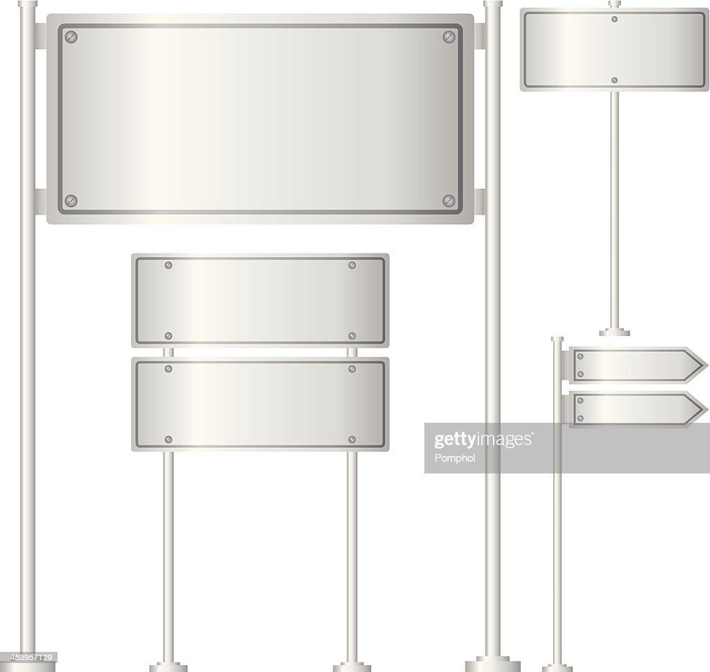 Vector set of metal signpost