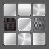 Vector set of metallic button icons
