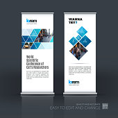 Vector set of modern roll Up Banner stand design with