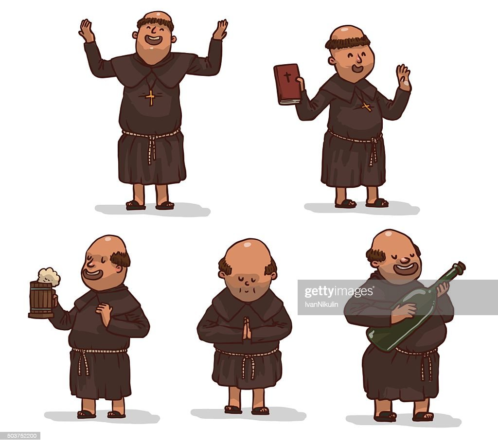 Vector set of monks in brown robes.