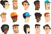 Vector set of multicultural women and men