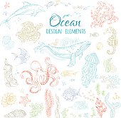 Vector set of ocean animals and plants.