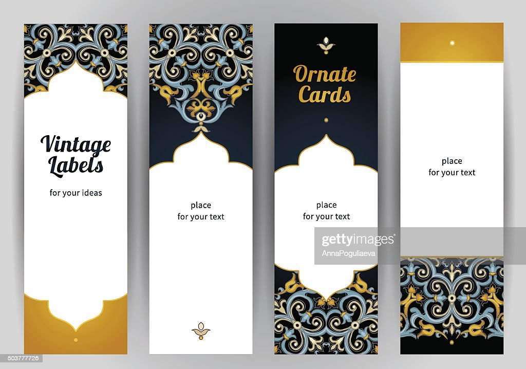 Vector set of ornate cards in Eastern style.