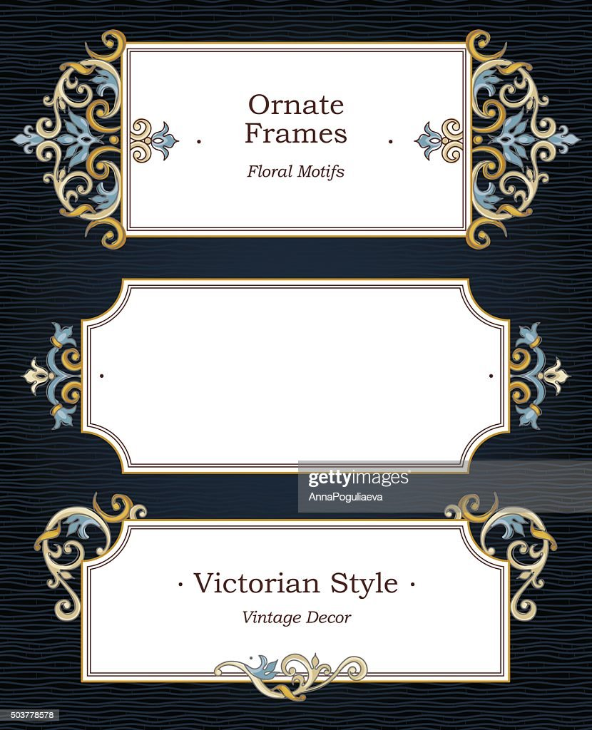 Vector set of ornate frames in Victorian style.