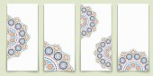 Vector set of ornate vertical template cards in Eastern style