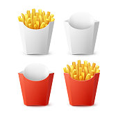Vector Set of Packed Potatoes French Fries