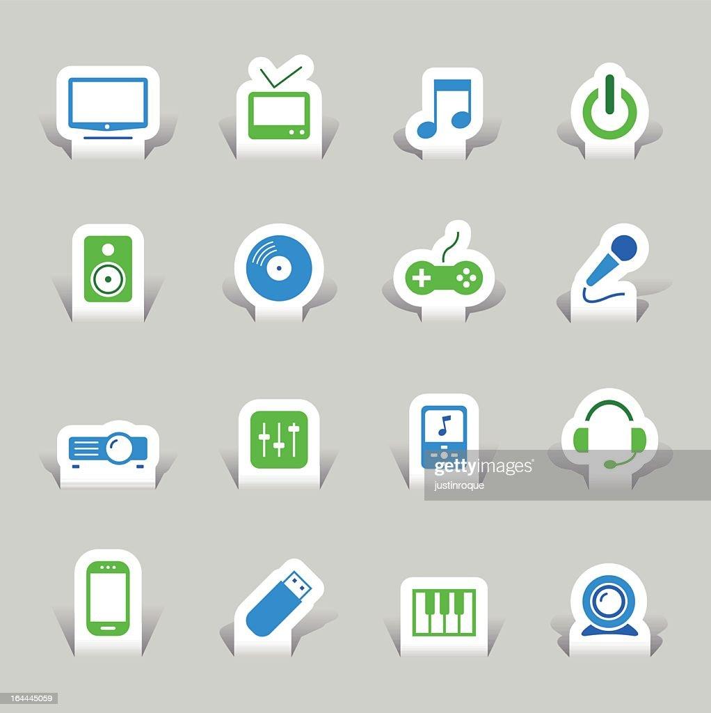 3-D vector set of paper cut media icons